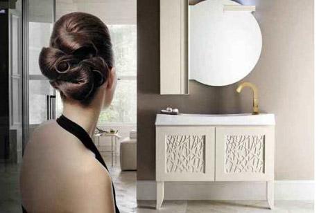 Moderne Badmöbel marmor wand holz fronten